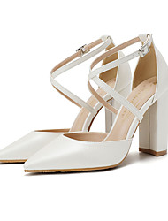 cheap -Women's Heels Pumps Pointed Toe Daily Office Faux Leather Solid Colored White