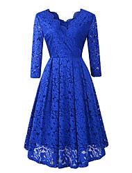 cheap -Women's A Line Dress Knee Length Dress Blue Purple Wine Green Black Dark Blue Long Sleeve Solid Color Lace Fall V Neck Casual 2021 S M L XL XXL