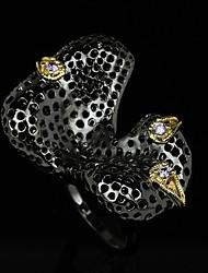 cheap -Women Statement Ring AAA Cubic Zirconia Geometrical Gold / Black Brass Botanical Unique Design Gothic Fashion 1pc / Women's