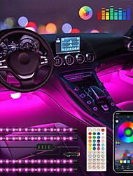 cheap -Interior Car Strip Lights 4PCS 48LEDs Keepsmile Car Accessories Led Lights APP Control with Remote Music Sync Color Change RGB Under Dash Car Lighting with Charger 12V 2A LED Lights for Voice Control