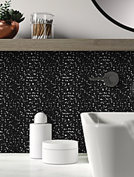 cheap -Brushed Silver Foil Classic Black Terrazzo Tile Sticker Self-adhesive Kitchen Wall Sticker Metal Texture Flower Brick Wall Sticker