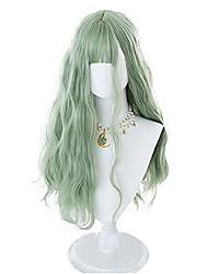 cheap -lolita wig matcha green 70cm long wavy bangs cute party wigs for women girls