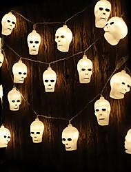 cheap -Halloween Skull LED String Lights 3M-20LEDs 1.5M-10LEDs Battery-Powered Holiday Garden Halloween Horror Atmosphere Decoration Lights