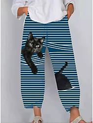 cheap -Women's Fashion Sports Pants Casual Pants Animal Full Length Print Grey Green White Light Blue