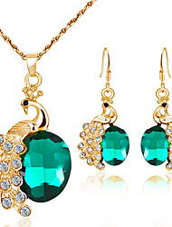 cheap -Women's Synthetic Aquamarine Bridal Jewelry Sets Geometrical Peacock Fashion Earrings Jewelry Red / Blue / Green For Party Gift Daily Festival 1 set
