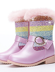 cheap -Girls' Boots Snow Boots Princess Shoes Leather PU Portable High Elasticity Snow Boots Big Kids(7years +) Little Kids(4-7ys) Daily Party & Evening Walking Shoes Zipper Crystals / Rhinestones Almond