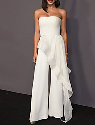 cheap -Jumpsuits Celebrity Style Elegant Engagement Formal Evening Dress Strapless Sleeveless Floor Length Stretch Fabric with Draping 2021