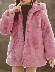 cheap -Kids Girls' Jacket & Coat Blushing Pink Gray Black Graphic Fur Trim Print Faux Fur Party Street School Active Adorable Cute 2-12 Years / Winter / Holiday