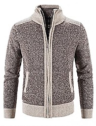 cheap -mens cardigan sweaters full zip long sleeve pocket knit jacket stand collar open front cardigans winter knitted coat(coffee,xx-large)