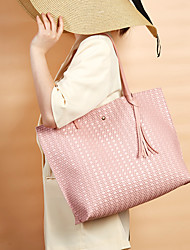 cheap -Women's Bags PU Leather Tote Top Handle Bag Plain Solid Color Daily Date Tote Handbags Blushing Pink