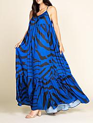 cheap -Women's A Line Dress Maxi long Dress Blue Black Red Sleeveless Print Ruched Print Fall cold shoulder Casual 2021 S M L XL XXL / Party Dress