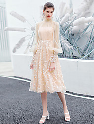 cheap -A-Line Floral Princess Homecoming Cocktail Party Dress Stand Collar Long Sleeve Tea Length Tulle with Embroidery Appliques 2021