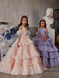 cheap -Princess Floor Length Flower Girl Dresses Party Chiffon Raglansleeve Jewel Neck with Tiered