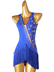 cheap -Figure Skating Dress Women's Girls' Ice Skating Dress Royal Blue Open Back Patchwork High Elasticity Training Competition Skating Wear Classic Sleeveless Ice Skating Figure Skating