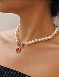cheap -Pendant Necklace Beaded Necklace Women's Solitaire Synthetic Ruby Red Imitation Pearl Zircon Heart Dainty Romantic Fashion European Sweet Wedding White 46.5 cm Necklace Jewelry for Wedding Street
