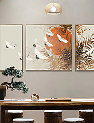 cheap -3 Panels Wall Art Canvas Prints Painting Artwork Picture Plant Ink Painting Retro Chinese style Home Decoration Decor Stretched Frame Ready to Hang
