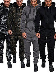 cheap -Men's Full Zip One-piece Jumpsuit Tracksuit Sweatsuit Street Casual Winter Long Sleeve Cotton Thermal Warm Breathable Soft Fitness Gym Workout Running Jogging Sportswear Solid Colored Hoodie Dark