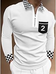 cheap -Men's Golf Shirt Lattice Zipper Long Sleeve Street Regular Fit Tops Sportswear Casual Fashion Streetwear White