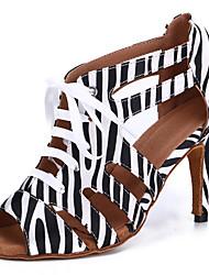 cheap -Women's Latin Shoes Dance Shoes Professional Heel Leopard Pattern / Print Slim High Heel Open Toe Leopard Black / White Black Lace-up Adults' Striped