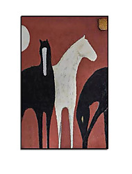 cheap -Oil Painting Handmade Hand Painted Wall Art Modern Abstract Black and White Horse Home Decoration Decor Rolled Canvas No Frame Unstretched