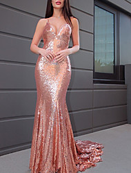cheap -Mermaid / Trumpet Sparkle Sexy Party Wear Formal Evening Dress V Neck Sleeveless Court Train Sequined with Sequin 2021