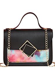 cheap -Women's Bags PU Leather Crossbody Bag Top Handle Bag Artwork Daily Date Handbags Chain Bag Black Red