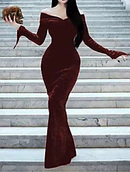 cheap -Women's Sheath Dress Maxi long Dress Wine Black Long Sleeve Solid Color Ruched Fall Winter Off Shoulder Casual Vintage Halloween 2021 S M L XL XXL 3XL / Party Dress