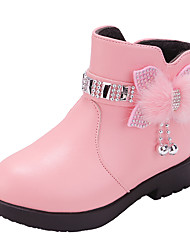 cheap -Girls' Boots Mid-Calf Boots PU Fashion Boots Big Kids(7years +) Little Kids(4-7ys) Blushing Pink Black Winter