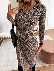 cheap -Women's Sheath Dress Knee Length Dress Brown Long Sleeve Leopard Ruched Lace up Print Fall Winter Pile Neck Elegant Casual 2021 S M L XL