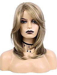 cheap -medium blonde wigs for women natural straight synthetic wig side part wig