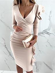 cheap -Women's Sheath Dress Knee Length Dress Wine Khaki Dark Green Black Long Sleeve Floral Ruffle Fall V Neck Work Casual 2021 S M L XL