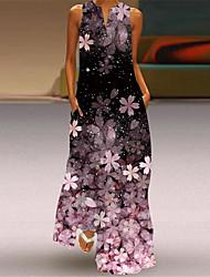 cheap -Women's A Line Dress Maxi long Dress Blue Purple Blushing Pink Green Black Sleeveless Flower Human face Print Fall Summer V Neck Vintage Style Elegant 2021 S M L XL XXL XXXL 4XL 5XL / Party Dress