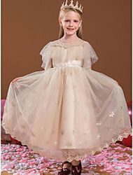 cheap -Princess Ankle Length Flower Girl Dresses Party Tulle Short Sleeve Jewel Neck with Beading