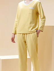 cheap -Women's Warm Suits Pajamas Home Basic Pure Color Polyester Sweet Fall Spring V Wire Long Sleeve Long Pant