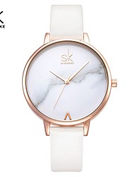 cheap -Shengke Top Brand Fashion Ladies Watches Leather Female Quartz Watch Women Thin Casual Strap Watch Reloj Mujer Marble Dial SK