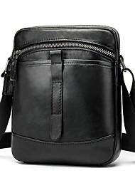 cheap -Men's Bags Nappa Leather Cowhide Crossbody Bag Zipper Daily Handbags Messenger Bag Black