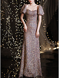 cheap -Mermaid / Trumpet Sparkle Sexy Prom Formal Evening Dress Sweetheart Neckline Off Shoulder Short Sleeve Floor Length Sequined with Sequin 2021