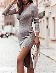 cheap -Women's Sheath Dress Knee Length Dress Gray Black Beige Long Sleeve Solid Color Split Fall Winter V Neck Casual 2021 S M L XL