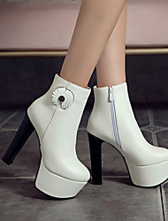 cheap -Women's Boots Chunky Heel Round Toe Booties Ankle Boots Wedding Work PU Solid Colored White / Booties / Ankle Boots