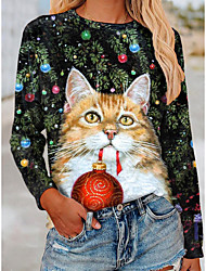 cheap -Women's Christmas 3D Cat Painting T shirt Cat Animal Long Sleeve Print Round Neck Basic Christmas Tops Regular Fit Green / 3D Print