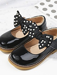 cheap -Girls' Flats Mary Jane Flower Girl Shoes Princess Shoes School Shoes Rubber PU Non-slipping Cosplay Big Kids(7years +) Little Kids(4-7ys) Daily Theme Party Walking Shoes Almond Black Fall Spring