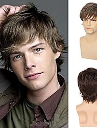 cheap -Short Brown Wig for Mens Layered Natural Fluffy Synthetic Hair Wig Heat Resistant Halloween Cosplay with Wig Cap