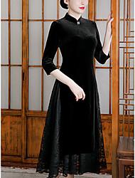 cheap -A-Line Mother of the Bride Dress Elegant Vintage High Neck Tea Length Velvet 3/4 Length Sleeve with Beading 2021