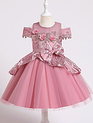 cheap -Kids Little Girls' Dress Jacquard Party Special Occasion Mesh Bow Blushing Pink Green Red Knee-length Sleeveless Princess Cute Dresses Children's Day Fall Winter Slim 3-10 Years / Spring / Summer
