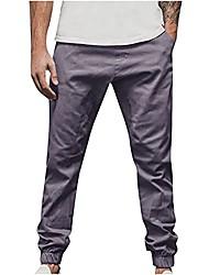 cheap -mens pants yoga sweatpants linen cotton joggers loose lightweight slacks beach fashion casual trousers dark gray
