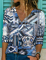 cheap -Women's Geometric Painting T shirt Graphic Geometric Print V Neck Basic Tops Blue Purple Yellow / 3D Print
