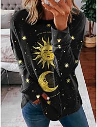 cheap -Women's Sweatshirt Pullover Moon Galaxy Star Print Print Casual Sports 3D Print Active Streetwear Hoodies Sweatshirts  Black