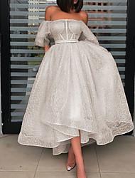 cheap -Women's A Line Dress Maxi long Dress Beige Sleeveless Solid Color Lace Fall Off Shoulder Elegant 2021 S M L XL / Party Dress