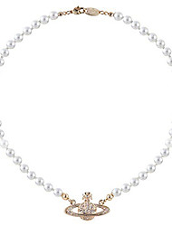 cheap -Necklace Fashion Classic & Timeless Pearl Rose Gold Saturn White Pearl Gold Saturn coffee beads Gold Saturn White Pearl Silver Saturn White Pearl 43 cm Necklace Jewelry 1pc For Wedding
