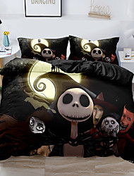 cheap -Skull Christmas Printed 3-Piece Duvet Cover Set Hotel Bedding Sets Comforter Cover with Soft Lightweight Thicken Fabric, Include 1 Duvet Cover, 2 Pillowcases for Double/Queen/King(1 Pillowcase for Twin/Single)